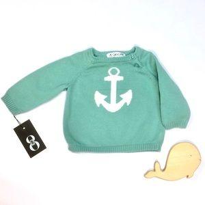 Cherokee anchor sweater — Light sea green